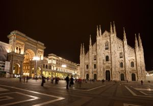 Piazza del Duomo at night, Milan, Italy
